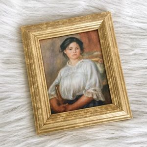 """Vintage  Renoir """"Seated Young Woman"""" Framed Print"""